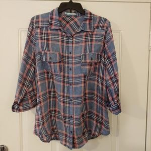 Faded Red & Blue Plaid Light Weight Button-Down